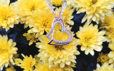 Kettenanhänger Herz bicolor mit Zirkonia