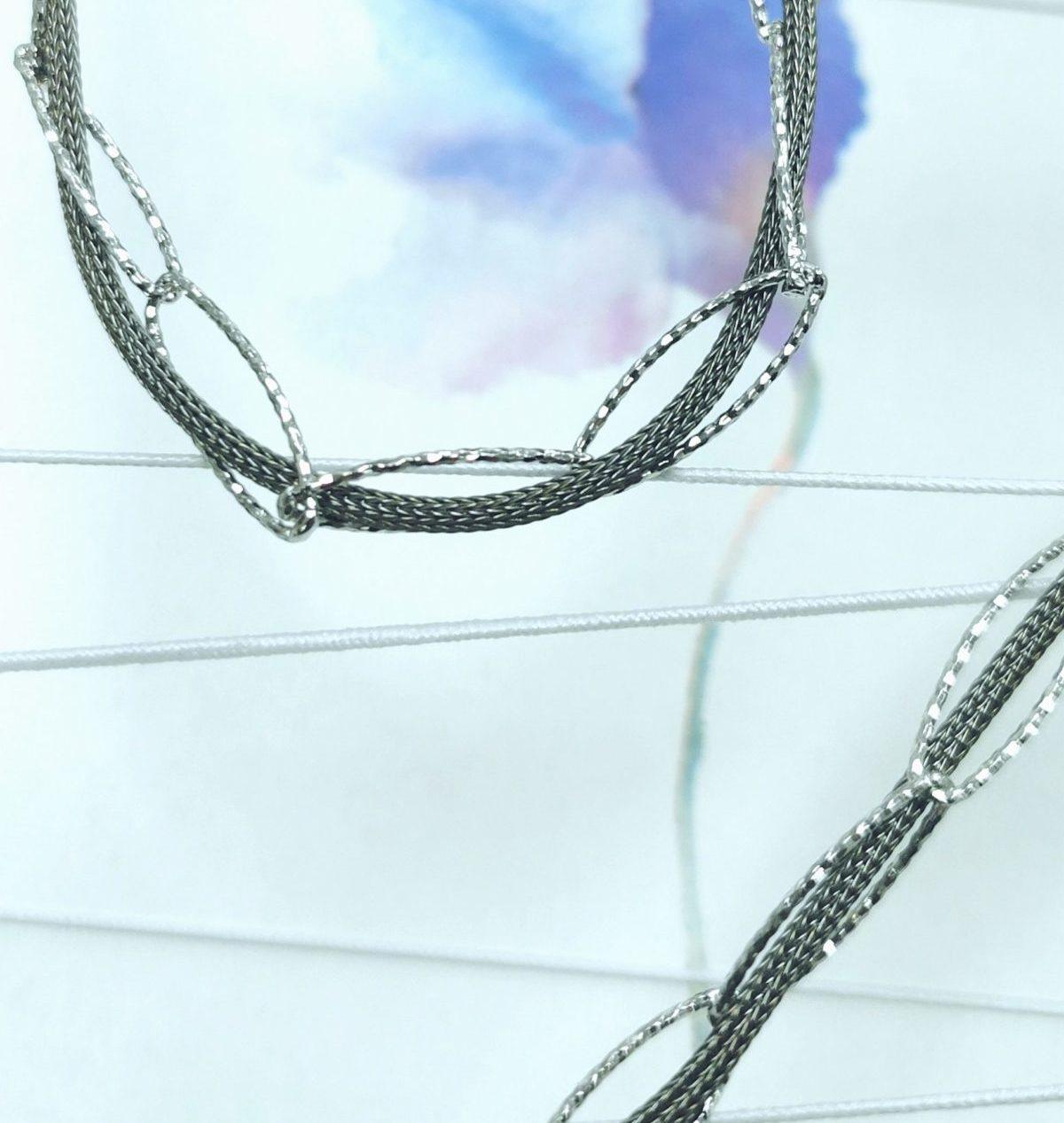Silberkette zweifarbig schwarz diamantiert